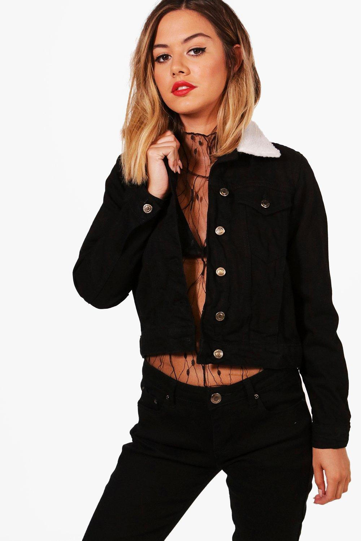 Denim Collar Jacket Petite black Borg gwqEWUTE7