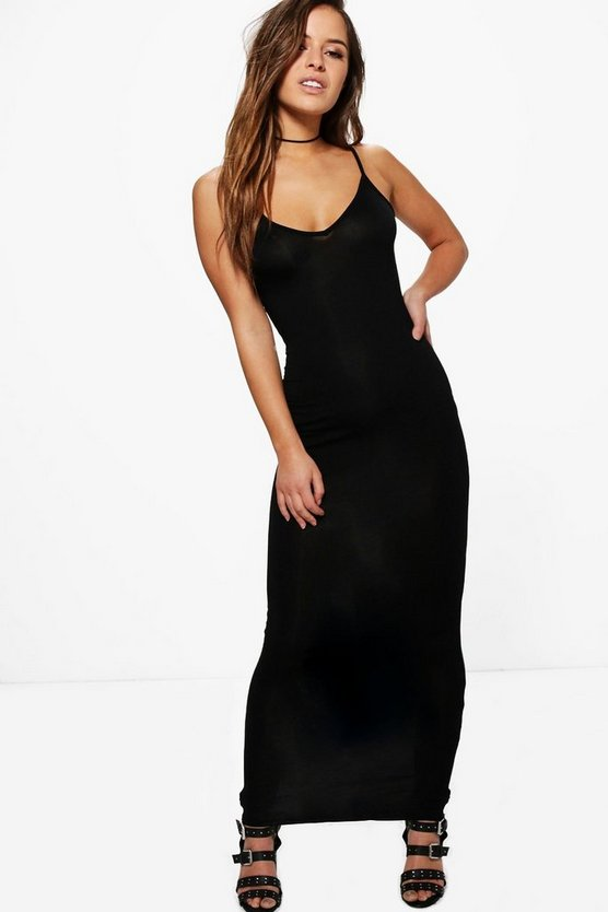 Petite Strappy V Neck Jersey Maxi Dress