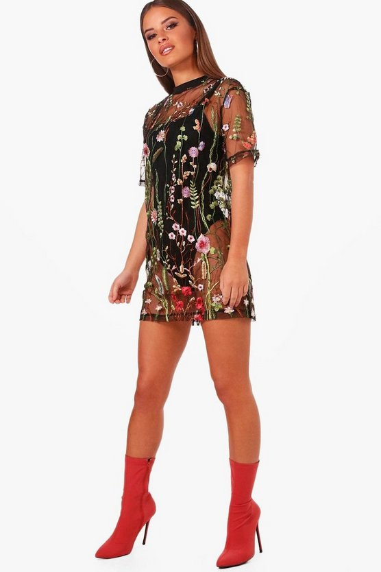 Petite Eve Embroidered Oversized Mesh T-shirt Dress