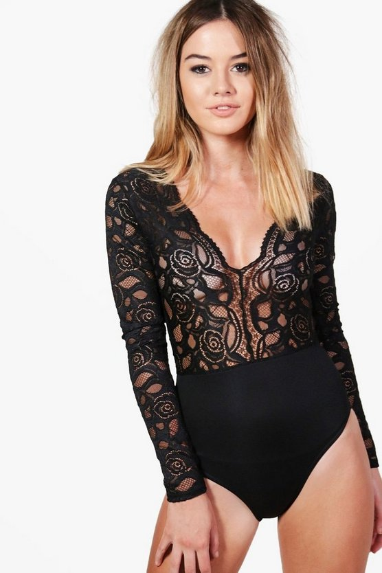 Womens Black Petite  Plunge V Neck Lace Bodysuit