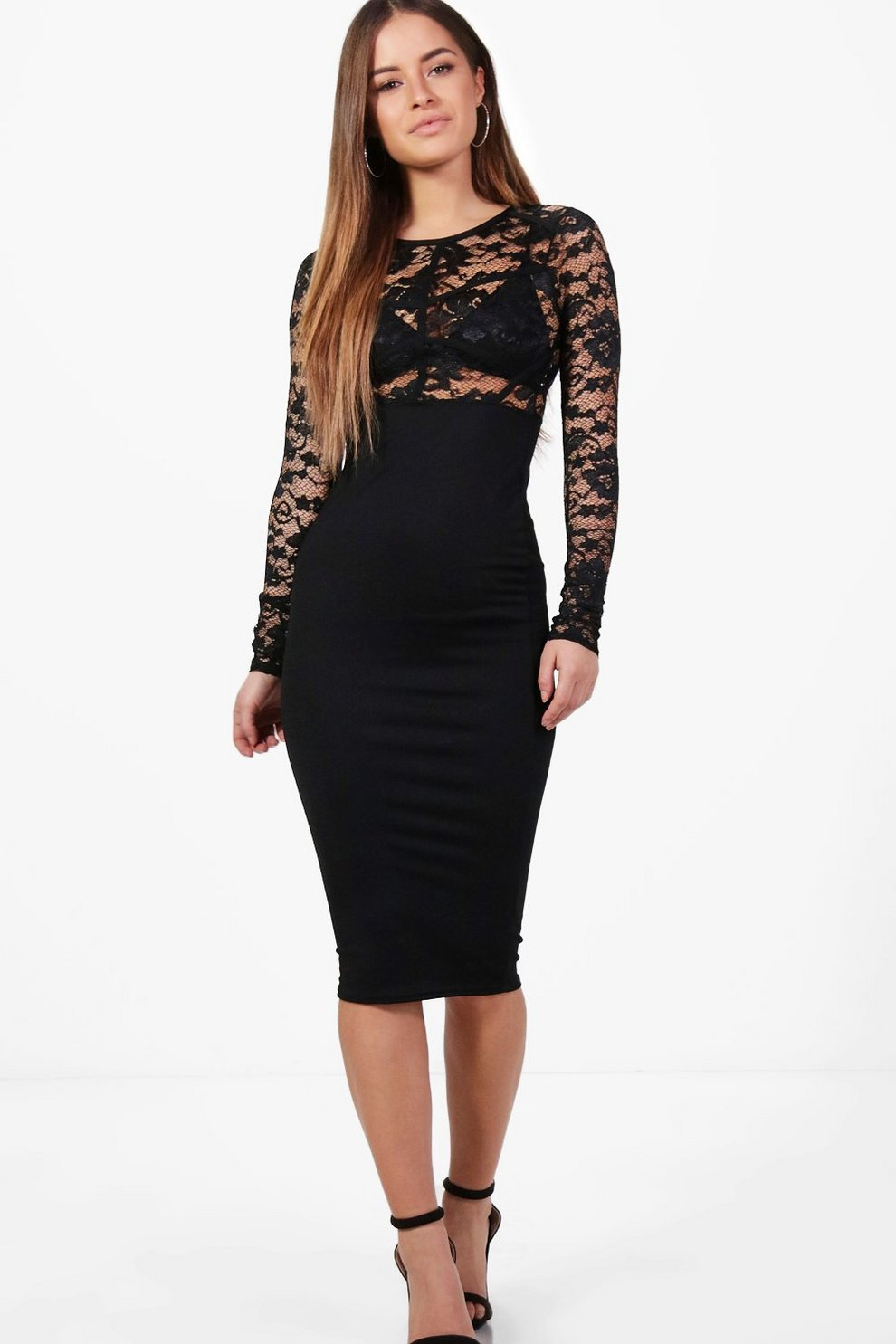 f94b67e69cfd Petite Lizzy Lace Panel Long Sleeve Bodycon Dress | Boohoo