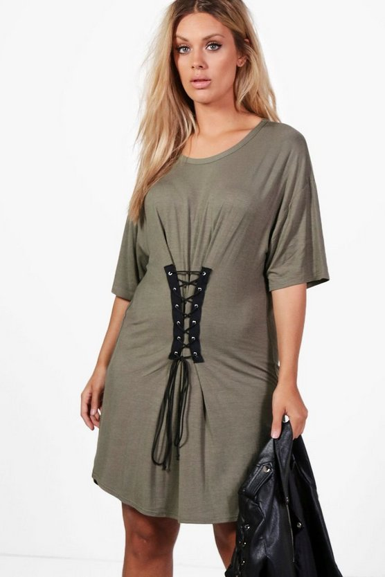 Plus Gerogina Corset Detail T-shirt Dress