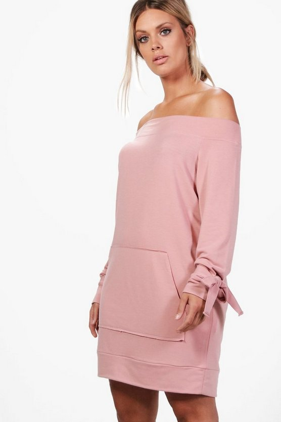 Plus Emily Off The Shoulder Tie Sleeve Sweat Dress