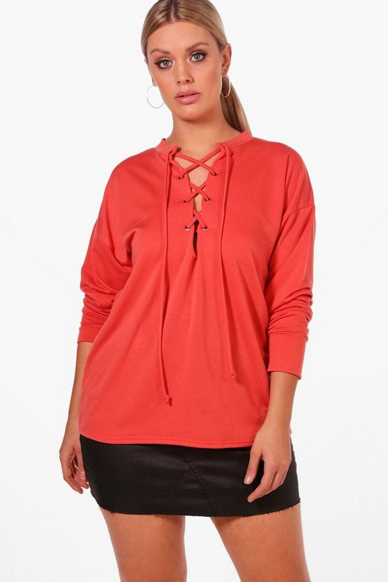 Plus Eyelet Tie Sweat Top
