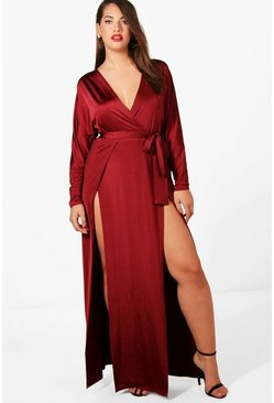 Womens Berry Plus  Slinky Plunge Split Maxi Dress