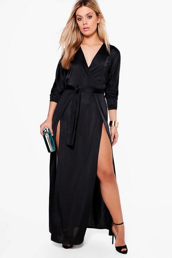 Black Plus  Slinky Plunge Split Maxi Dress