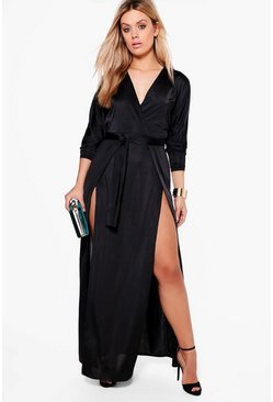 Womens Black Plus  Slinky Plunge Split Maxi Dress
