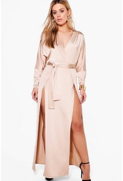 Womens Sand Plus  Slinky Plunge Split Maxi Dress
