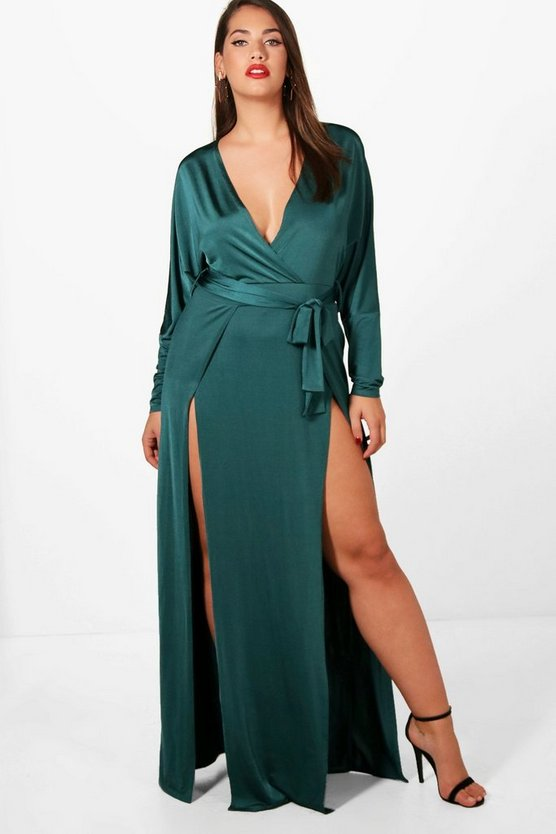 Plus Slinky Plunge Split Maxi Dress