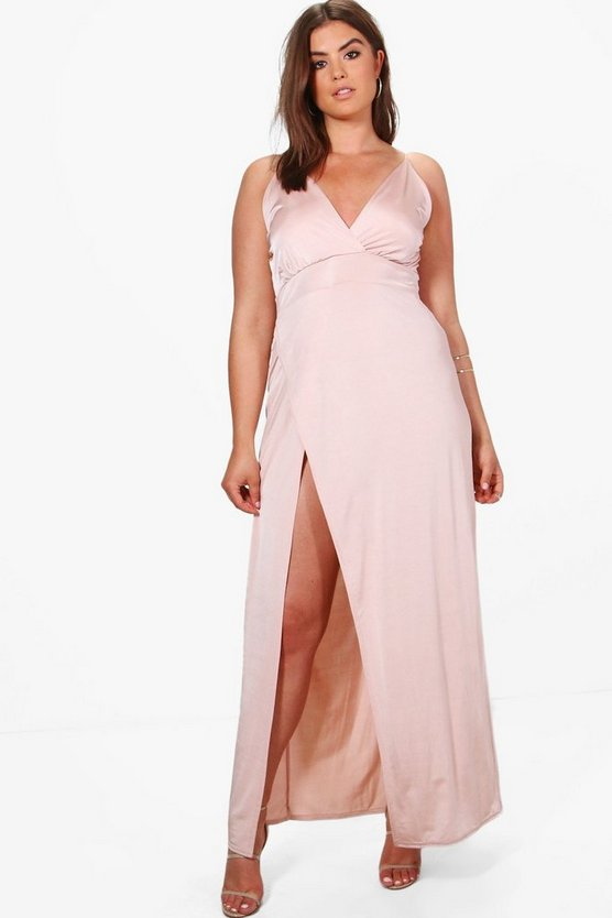 Womens Peach Plus Lily Slinky Plunge Maxi Dress