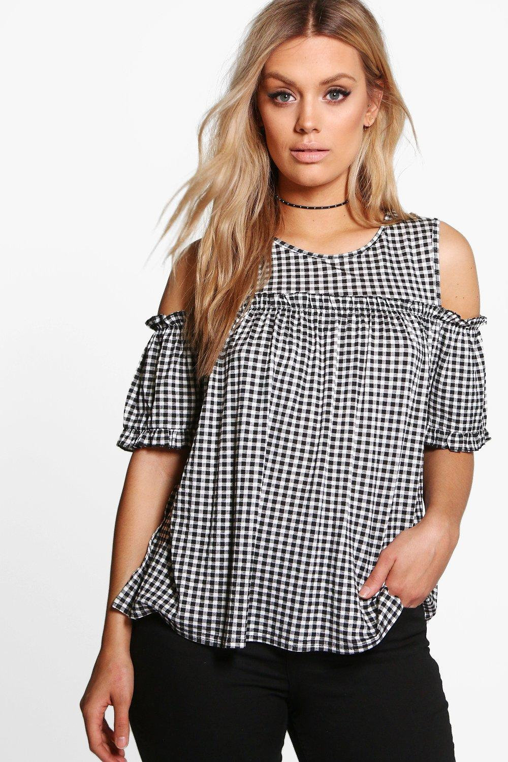 Plus Gingham Cold Shoulder Ruffle Top
