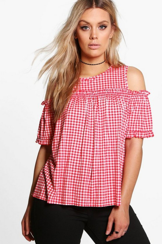 Plus Zoe Gingham Cold Shoulder Ruffle Top