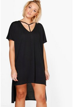 Womens Black Plus  Strap Detail Dip Hem Tunic Dress