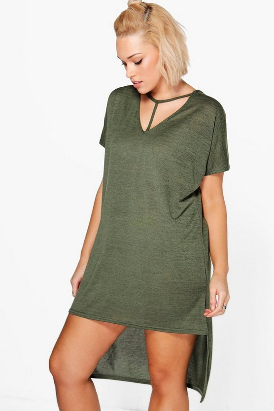 Plus  Strap Detail Dip Hem Tunic Dress