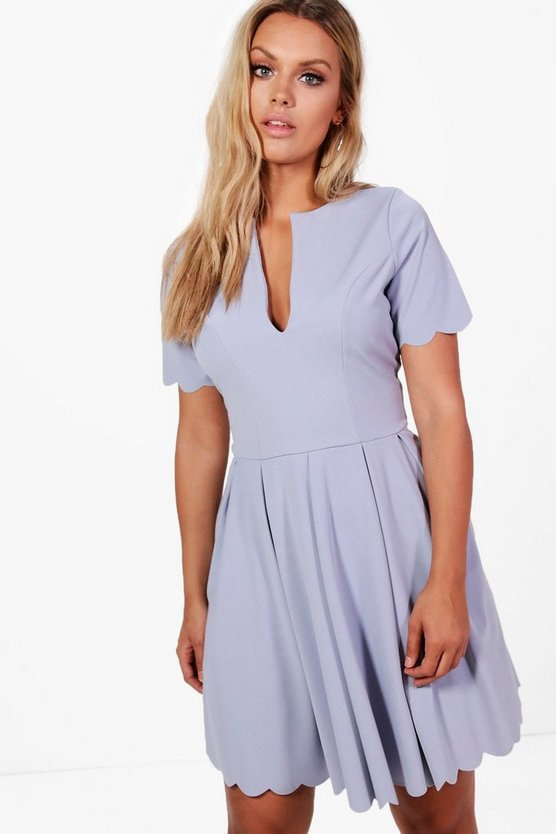 Womens Plus Livvy Scallop Edge Skater Dress