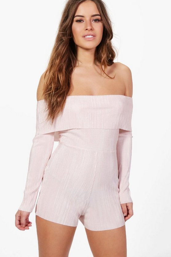 Petite Nicola Pleated Off The Shoulder Playsuit