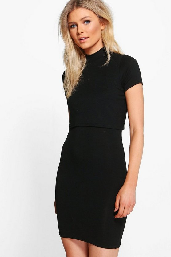 Petite Melanie Turtleneck Double Layer Dress
