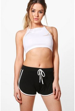 Womens Black Petite  Tie Detail Running Short