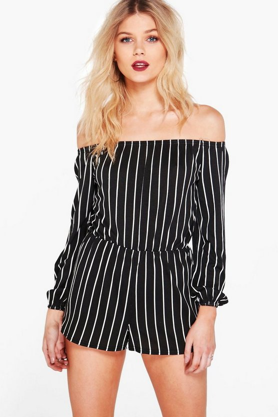 Petite Stripe Off The Shoulder Romper