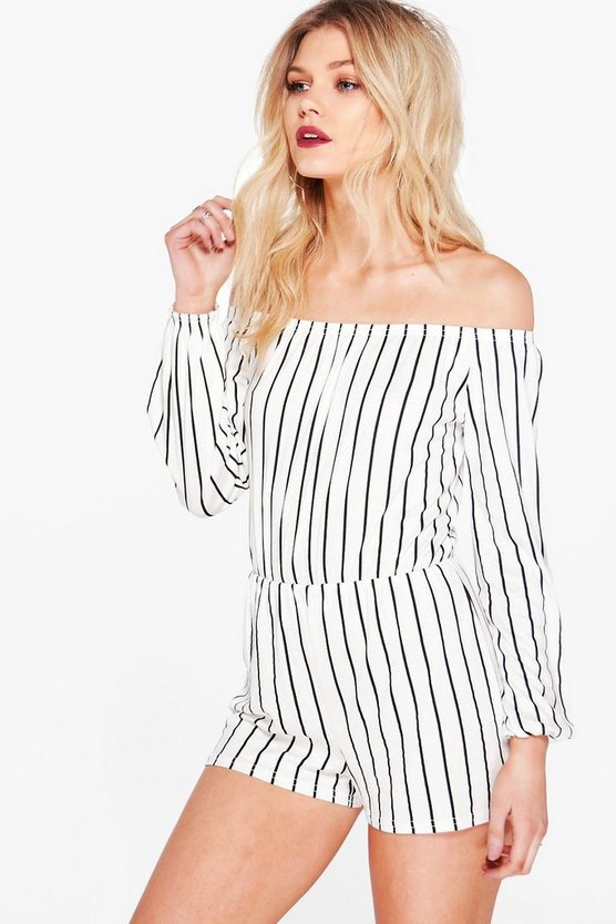 White Petite  Stripe Off The Shoulder Playsuit