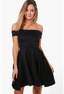 Womens Black Petite Off The Shoulder Skater Dress