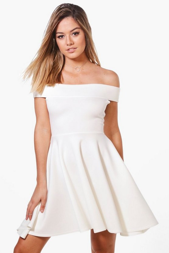 Womens Ivory Petite Off The Shoulder Skater Dress