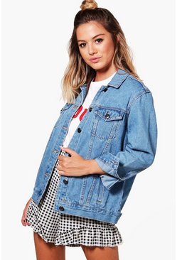Womens Blue Petite  Boyfriend Fit Denim Jacket