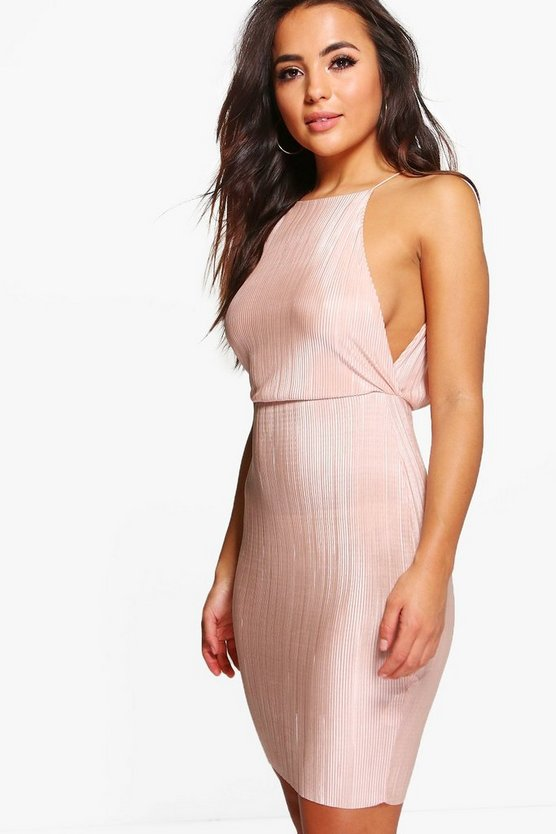 Petite Jen Pleated Open Side Bodycon Dress