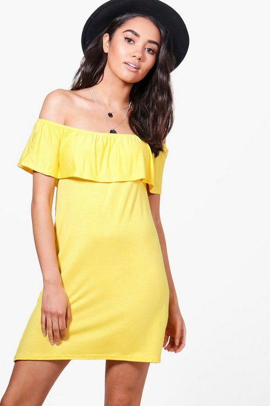 Petite Caitlin Off The Shoulder Ruffle Shift Dress