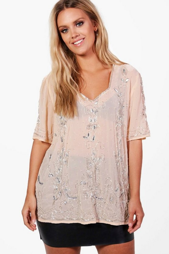 Plus Charlotte V Neck Heavy Embellished Top