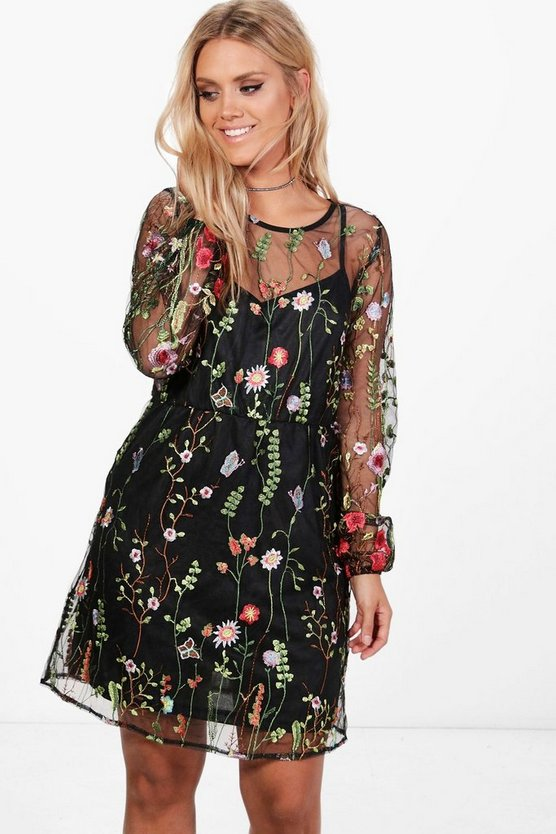 Plus Embroidered Skater Dress