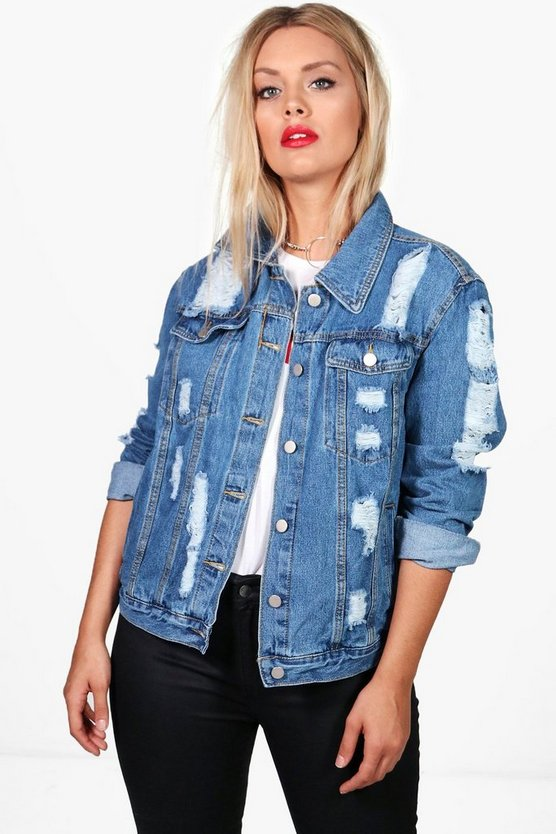 Plus Eve Oversized Super Distressed Denim Jacket