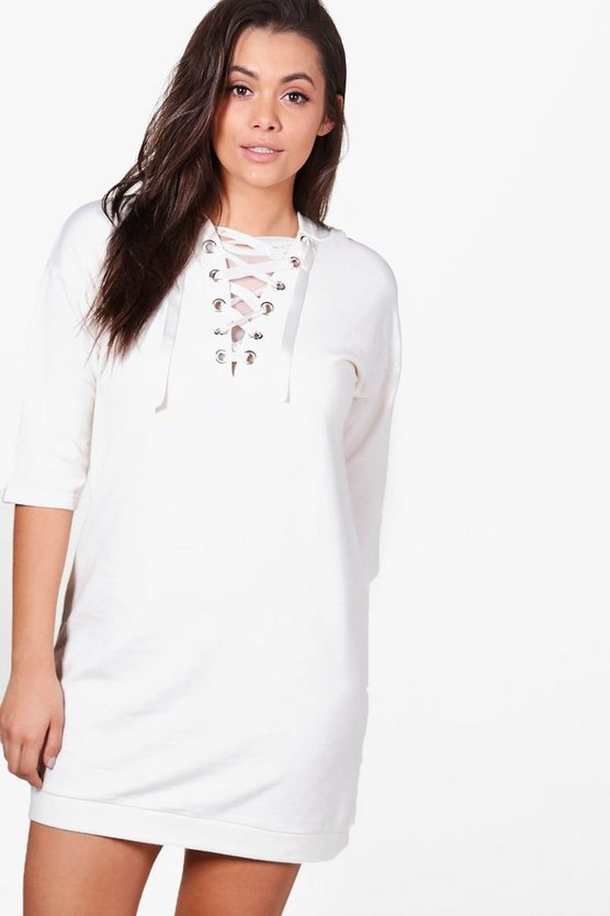 Plus Yasmin Eyelet Detail Sweat Dress