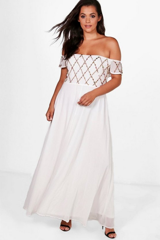Plus Embellished Cold Shoulder Maxi Dress