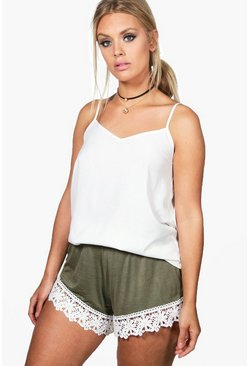Womens Khaki Plus  Crochet Trim Beach Short
