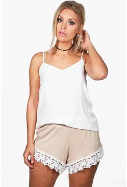 Womens Stone Plus  Crochet Trim Beach Short
