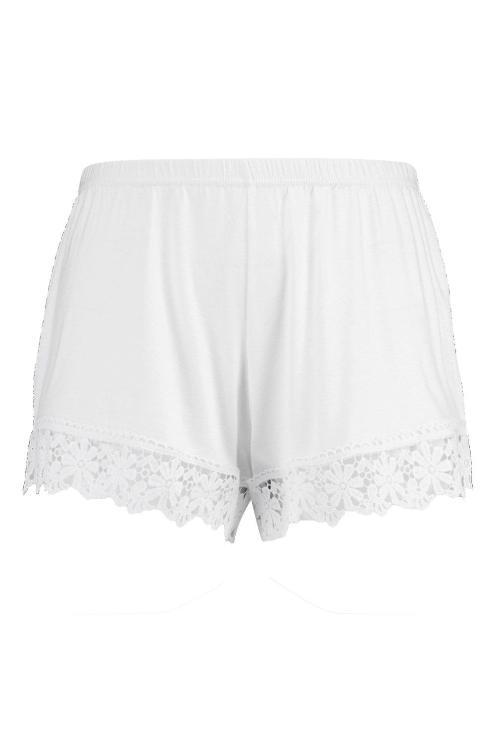 Beach Short white Plus Crochet Trim qwZHRC