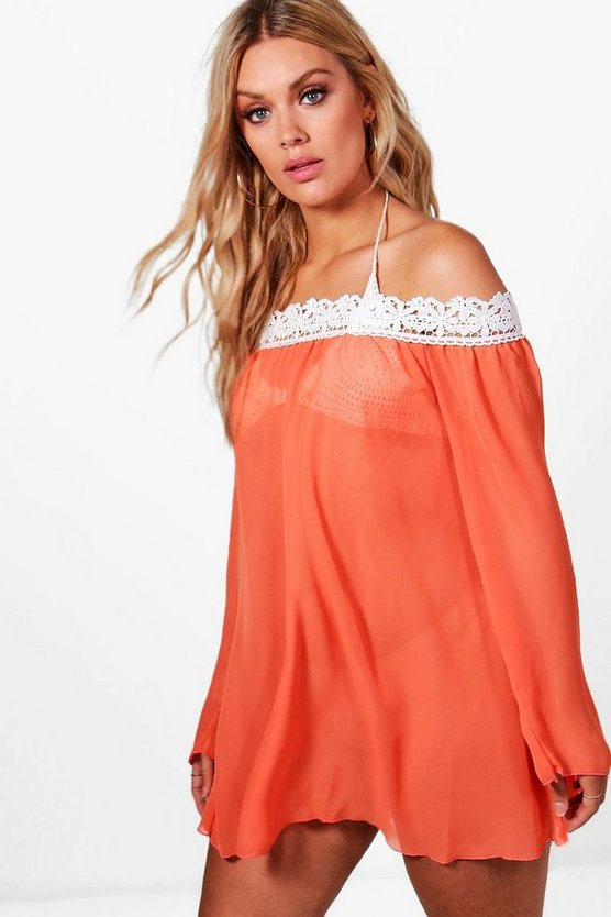 Plus Faith Crochet Trim Beach Cover Dress