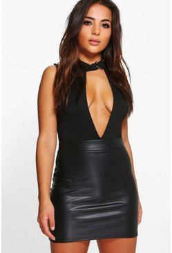 Womens Black Petite  Matte Leather Look Mini Skirt