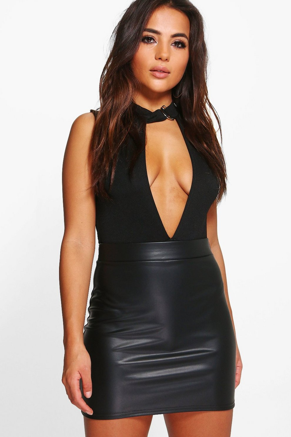 3a4bf0023f Petite Matte Leather Look Mini Skirt. Womens Black Petite Matte Leather  Look Mini Skirt. Hover to zoom