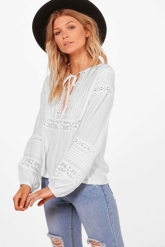 Petite Alexis Embroidered Blouson Sleeve Shirt