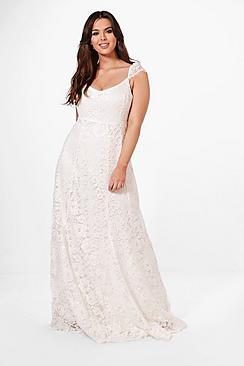 60s Wedding Dress | 1960s Style Wedding Dresses Plus Ella Lace Maxi Dress With Cap Sleeve $68.00 AT vintagedancer.com