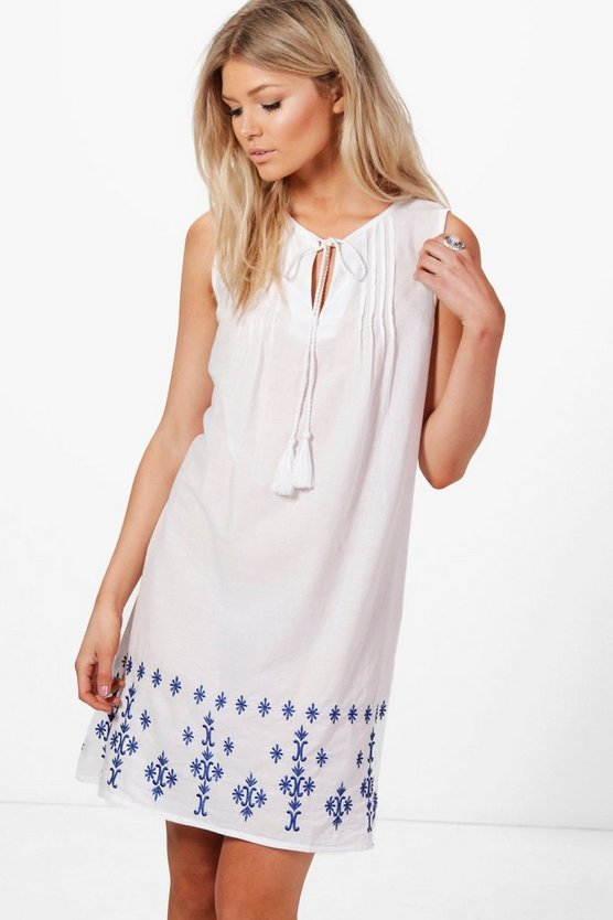Petite Kelly Embroidered Hem Shift Dress