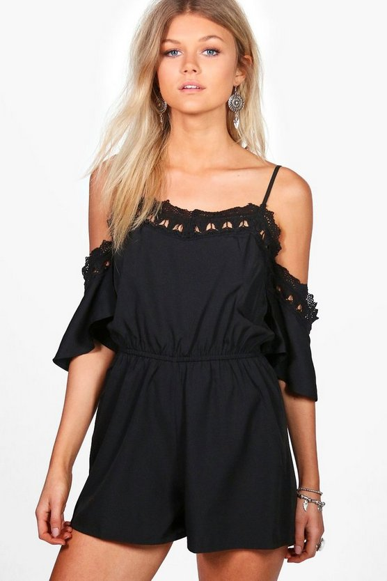 Petite Crochet Detail Open Shoulder Playsuit