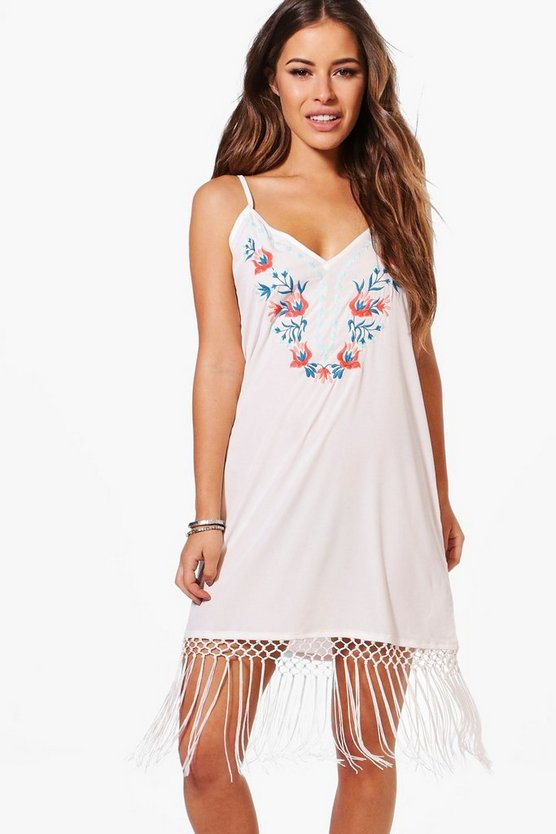 Petite Amy Boutique Embroidered Fringe Hem Cami