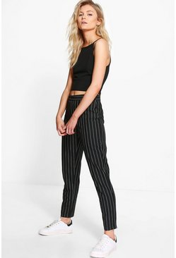Black Petite Stripe Tapered Pants