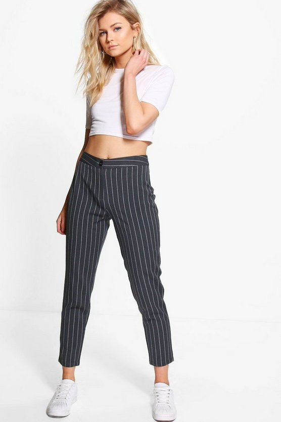 Womens Petite Stripe Tapered Pants