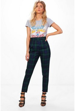 Womens Multi Petite  High Waisted Check Tapered Trouser