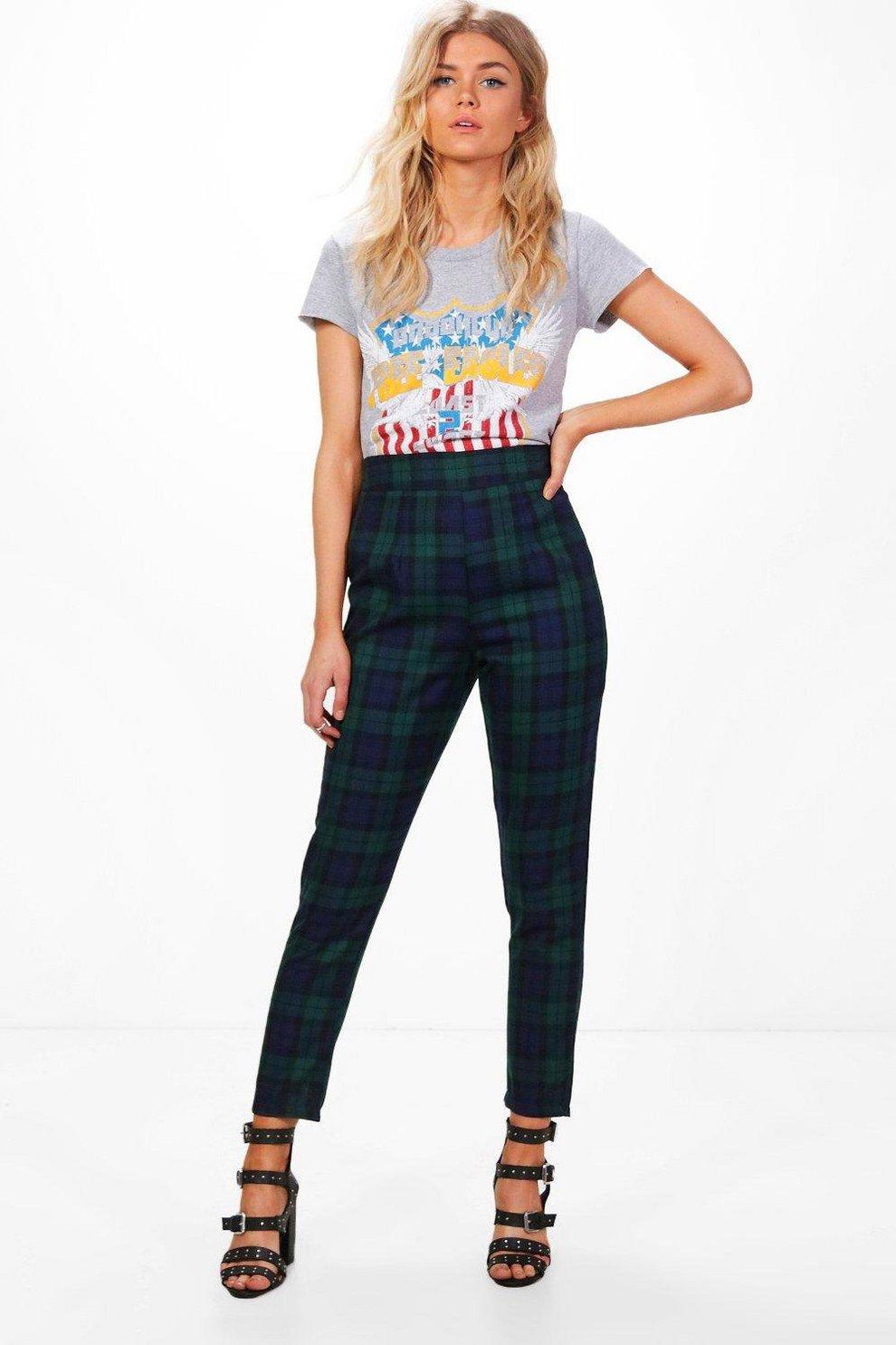 9cbc92303dbe7 Petite pantalon fuselé taille haute à carreaux | Boohoo