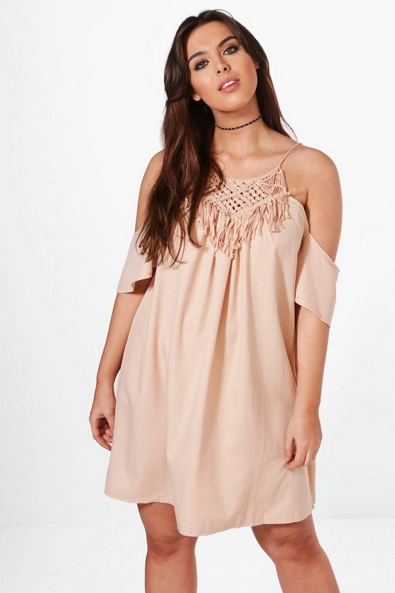Plus Melissa Crochet Trim Swing Dress
